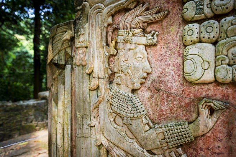 雕刻在古老玛雅市的浅浮雕帕伦克,恰帕斯州,墨西哥 免版税库存图片