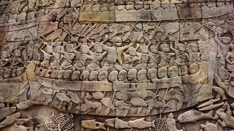 雕刻在吴哥窟的墙壁 免版税图库摄影