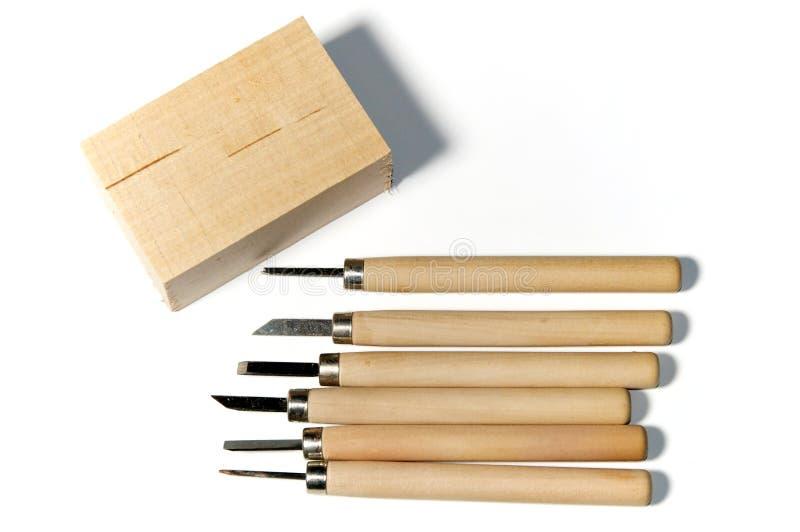 雕刻有美国鹅掌楸的木头工具 库存照片