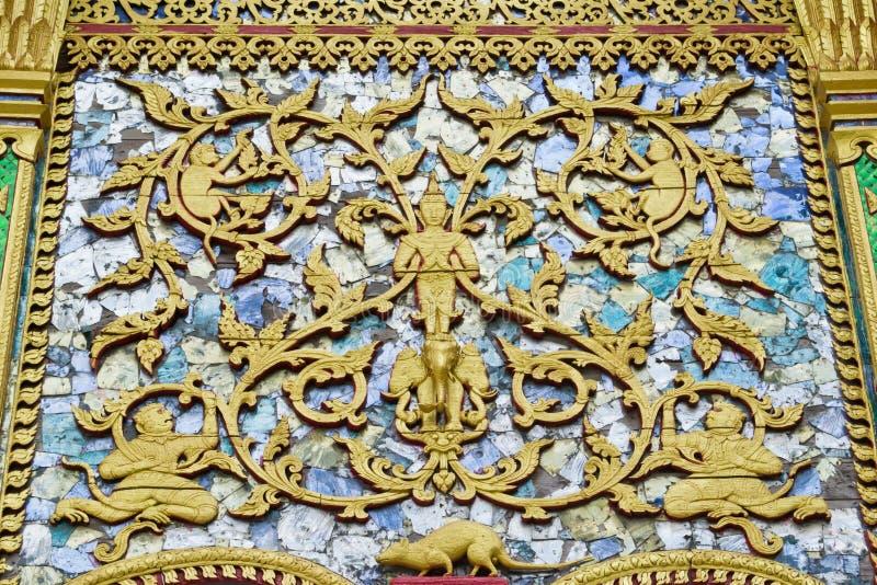雕刻泰国的木头 库存照片