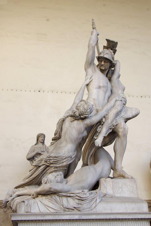 雕刻Polyxena强奸  库存图片