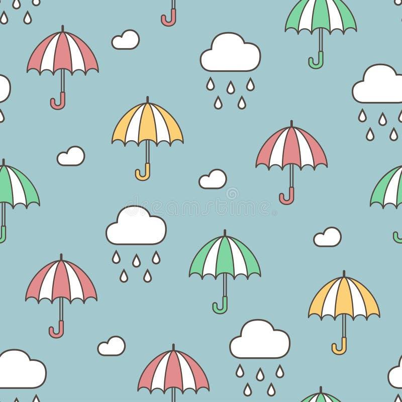 雨、云彩和伞 无缝的模式 五颜六色的传染媒介手拉的乱画动画片 皇族释放例证