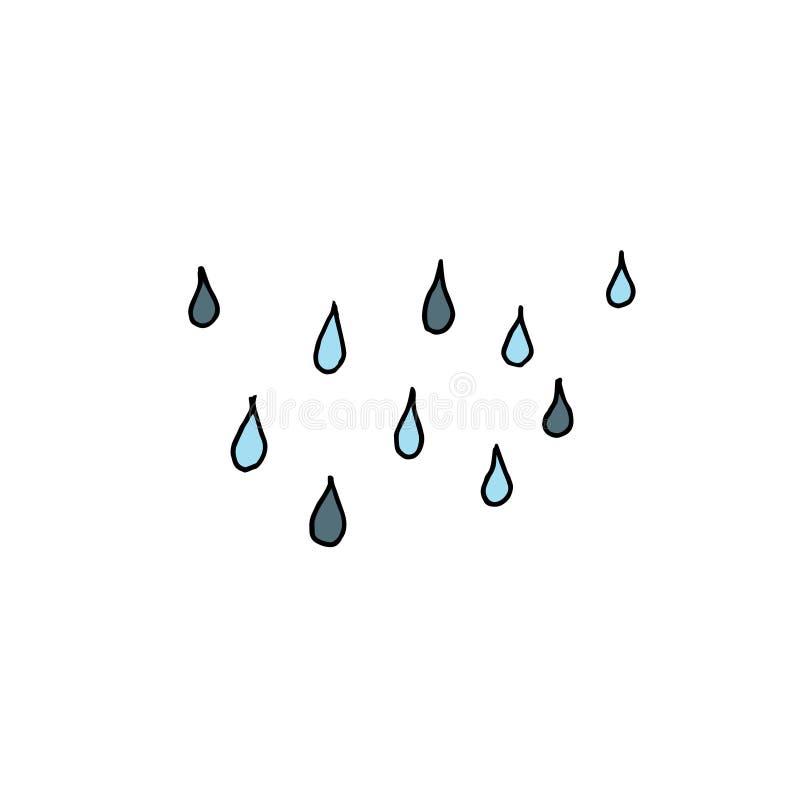 雨下落 与不同颜色的概述在白色背景 r 库存例证