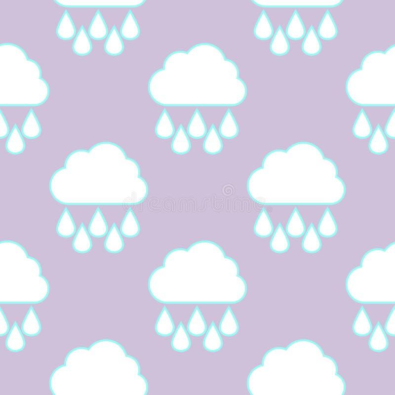 雨云和落的下落无缝的样式 库存例证