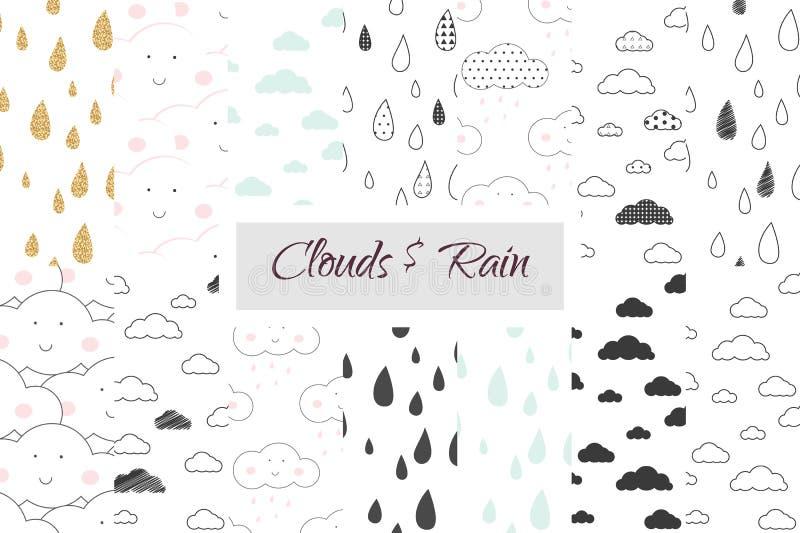 雨和云彩孩子无缝的样式集合 库存例证