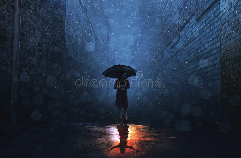 雨和亮光 免版税库存照片
