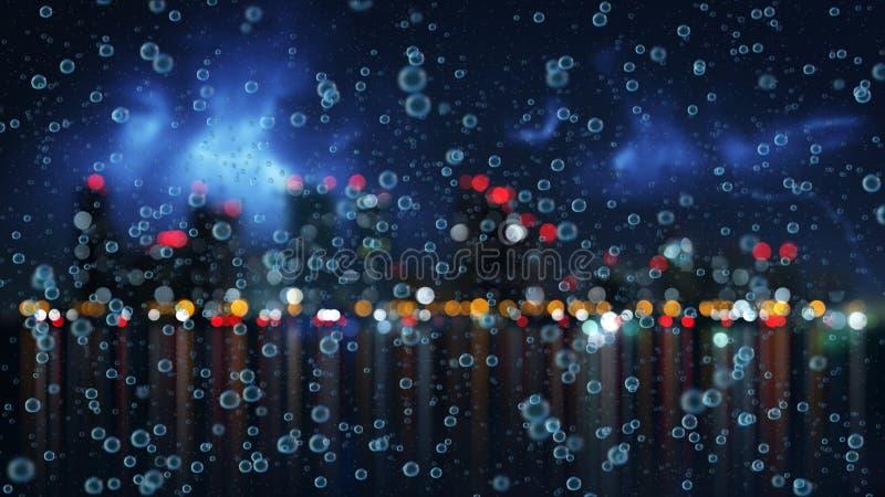 雨和被弄脏的夜城市 皇族释放例证