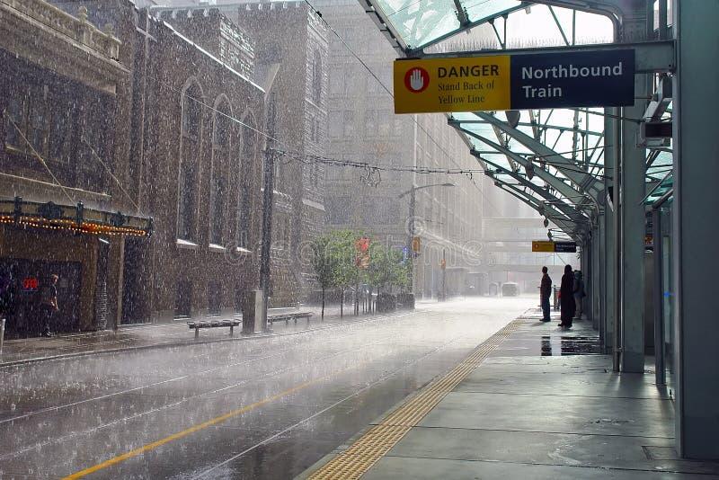 雨在卡尔加里,加拿大 免版税库存图片