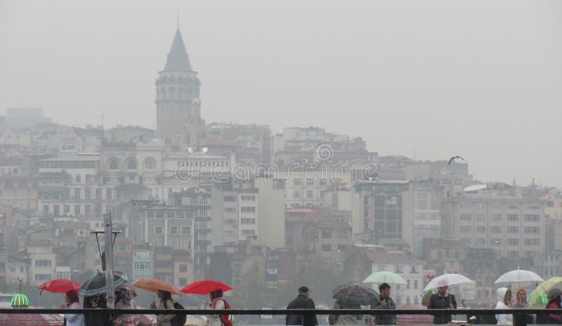 雨天在伊斯坦布尔 库存照片