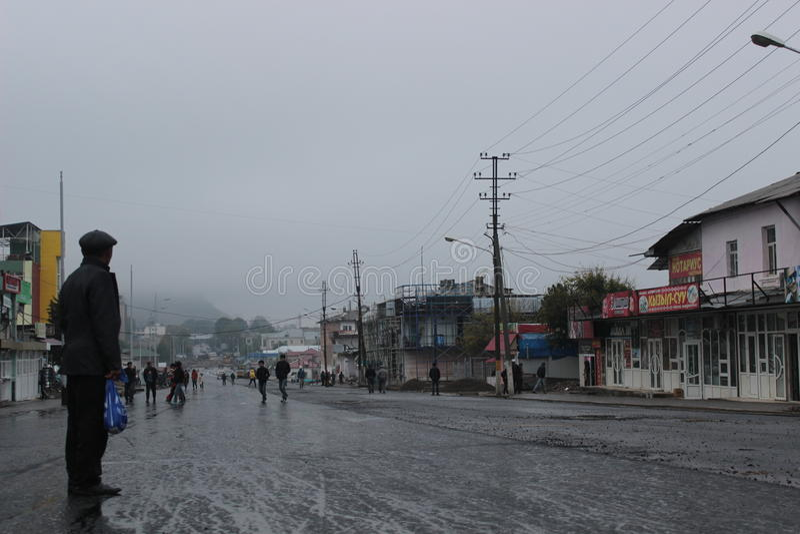 雨天在奥什 免版税库存照片