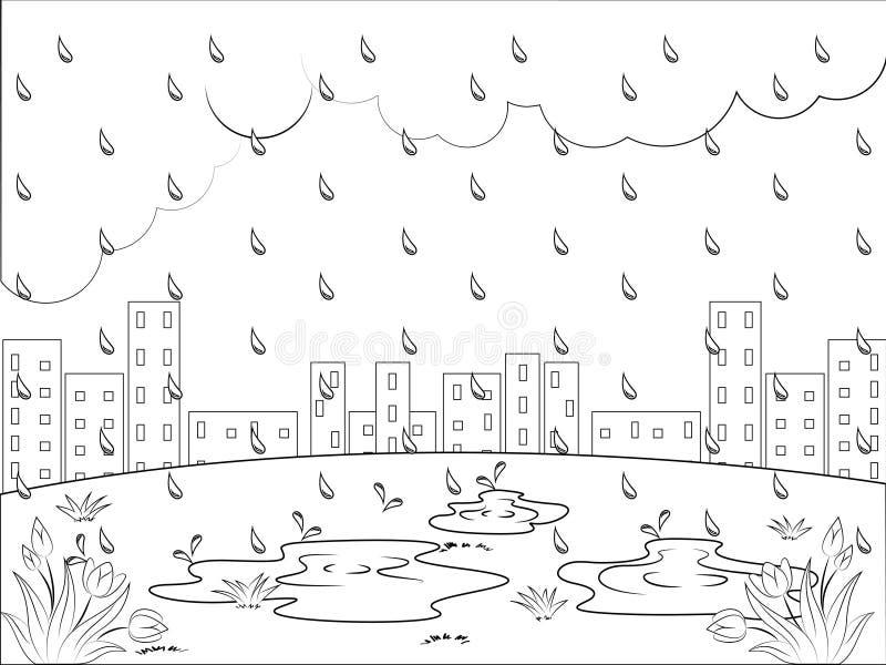 雨天孩子的着色页 免版税图库摄影