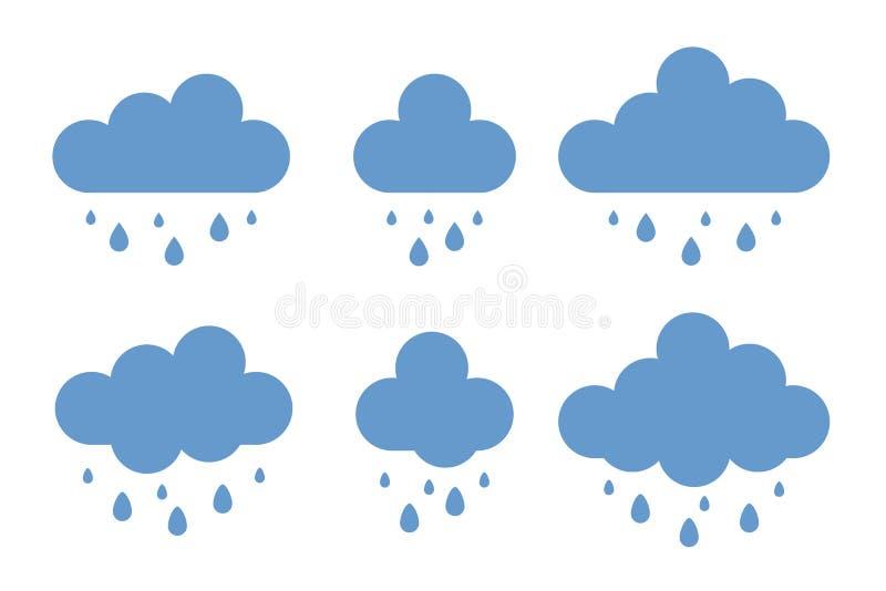 雨天气象集合 在白色背景隔绝的时髦平的样式的云彩传染媒介 向量例证