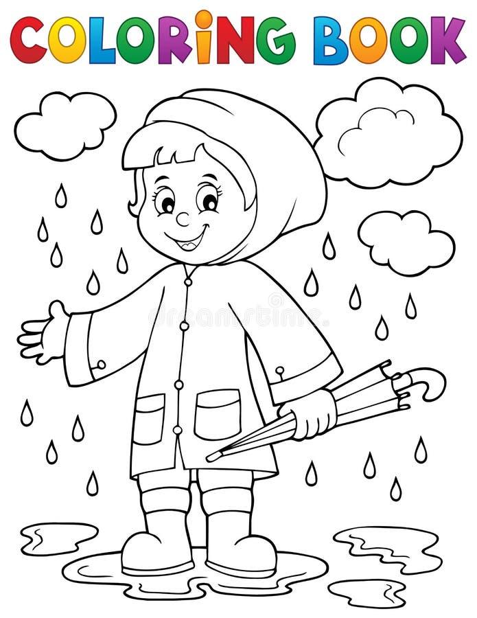 雨天的着色书女孩1 库存例证