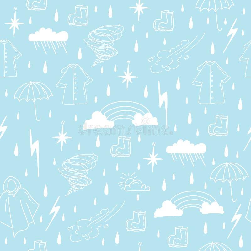雨季要素无缝的模式 向量例证
