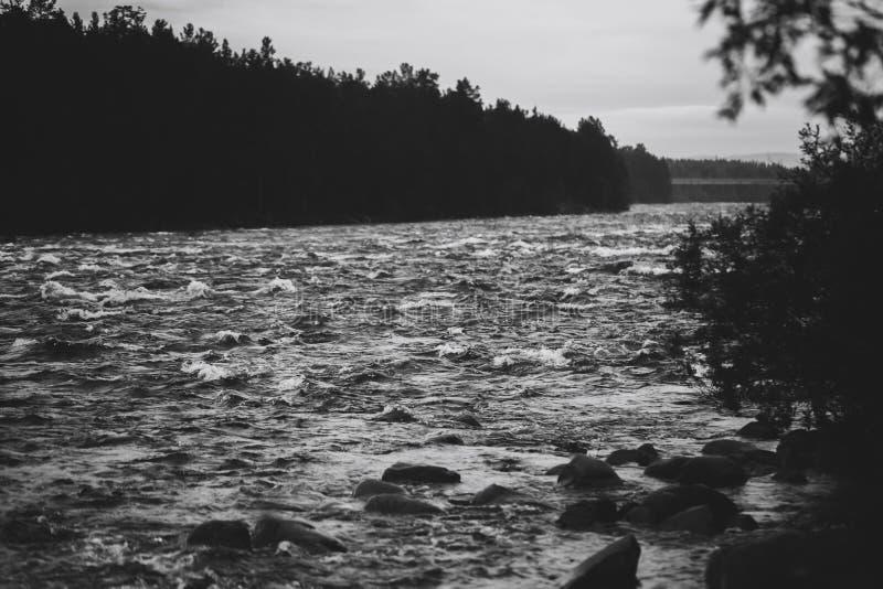 雨季阴云密布河 库存图片