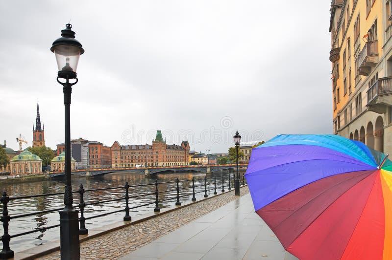 雨斯德哥尔摩 免版税库存图片