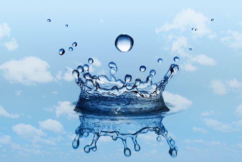 雨水下跌的滴与水泼溅物的在冠形状 库存图片