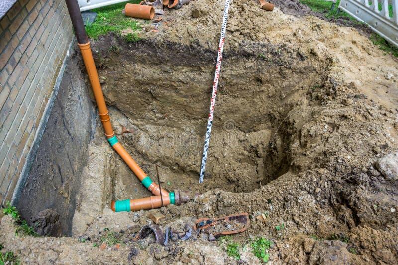雨水管子的连接的建造场所 免版税图库摄影