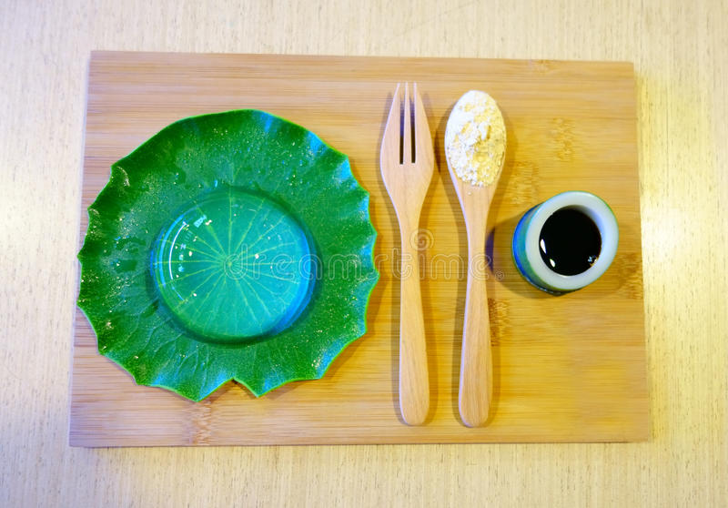 水雨珠蛋糕, Mizu Shingen墨池,山梨墨池 japane 库存图片