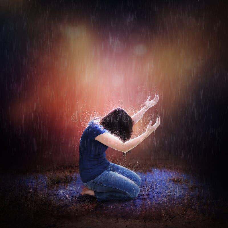 暴雨祷告 库存照片