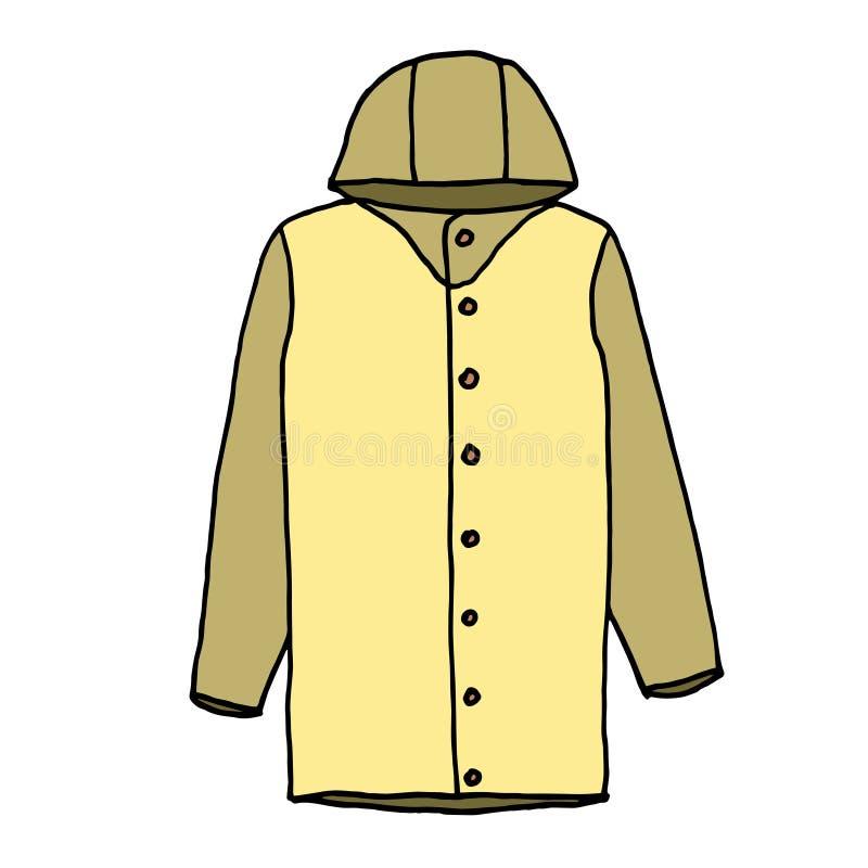 雨衣剪影,手图画 与不同颜色的概述在白色背景 r 皇族释放例证