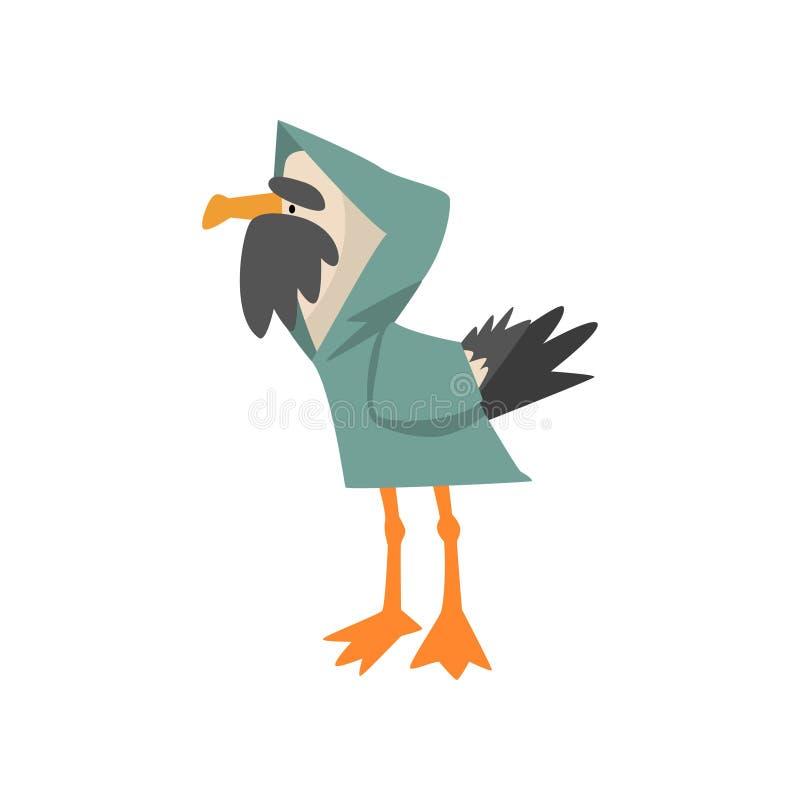 雨衣的,滑稽的鸟卡通人物传染媒介例证海鸥水手 向量例证
