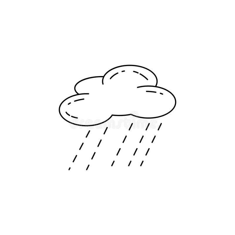 雨象云彩  野营和流动概念和网apps的室外休闲的元素 网站设计的a稀薄的线象 库存例证