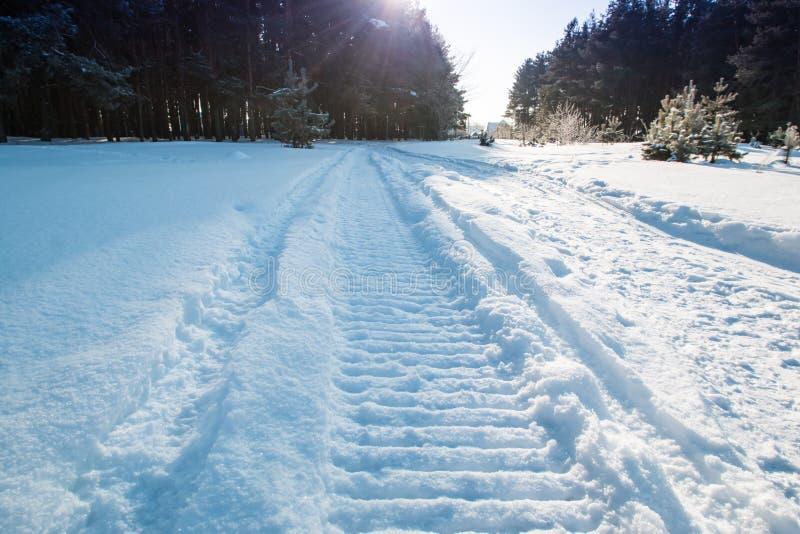 雪上电车踪影的特写镜头在雪和太阳的 图库摄影