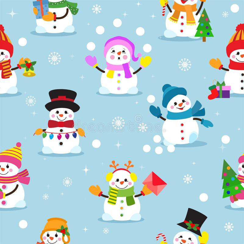 雪人动画片传染媒介冬天圣诞节字符假日快活的xmas雪男孩和女孩例证无缝的样式 皇族释放例证