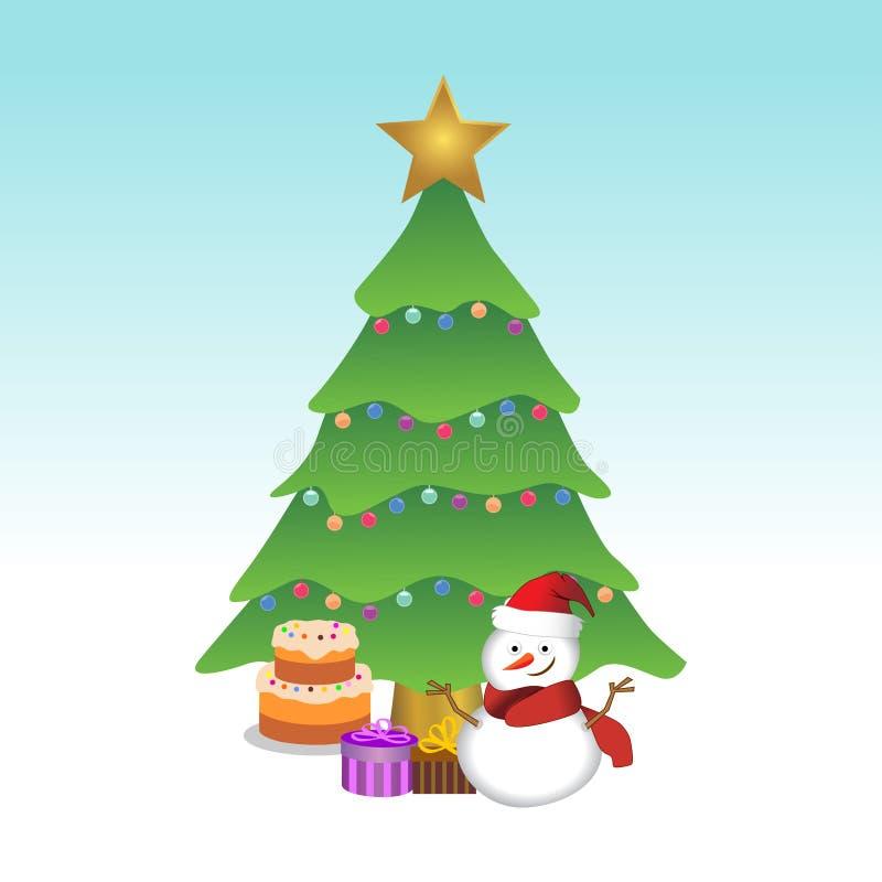 雪人和圣诞树 传染媒介以图例解释者EPS 10 库存例证