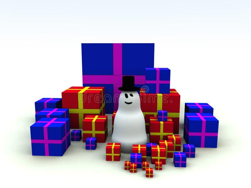 雪人和圣诞节礼物6 皇族释放例证
