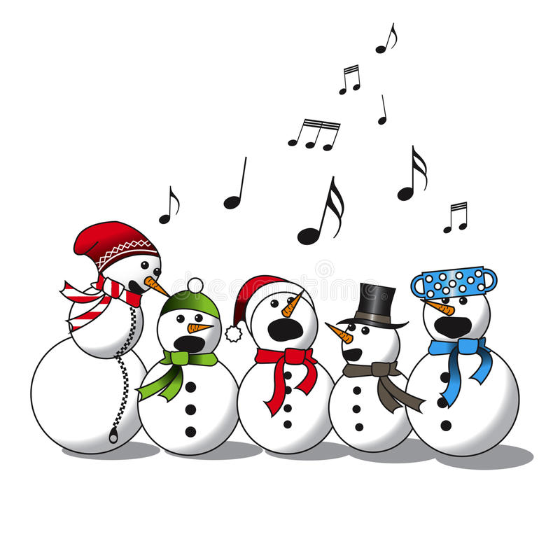 雪人唱歌-唱诗班 向量例证