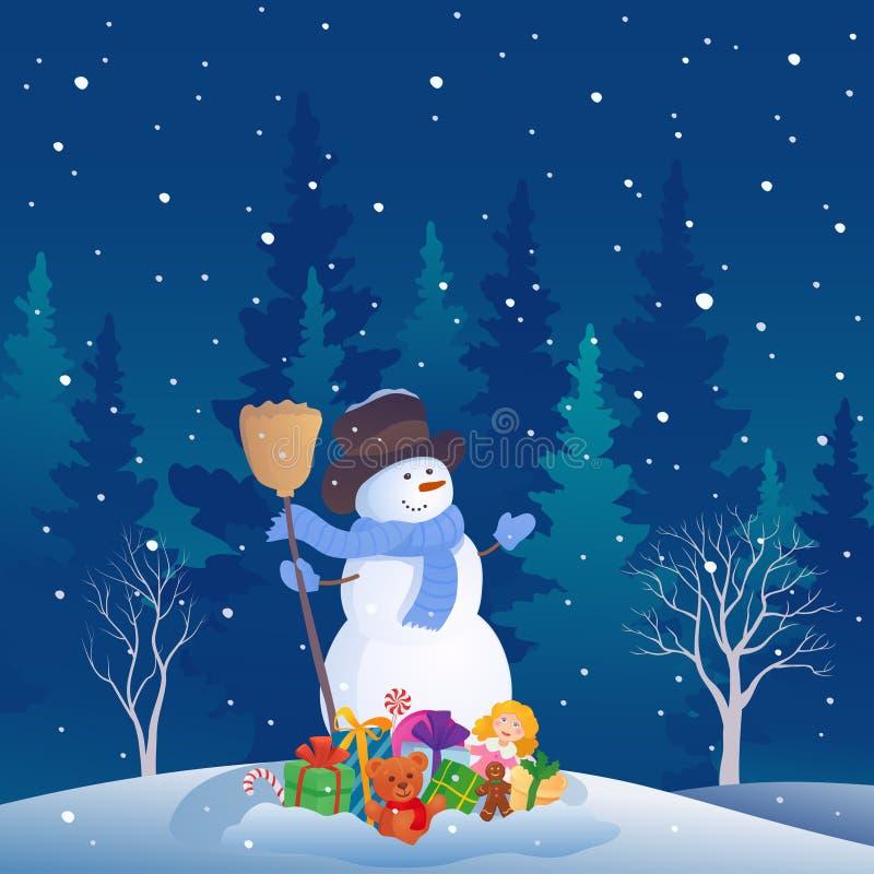 雪人圣诞节场面 皇族释放例证