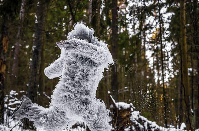 雪人在冬天森林室外幻想照片的童话字符 免版税库存照片