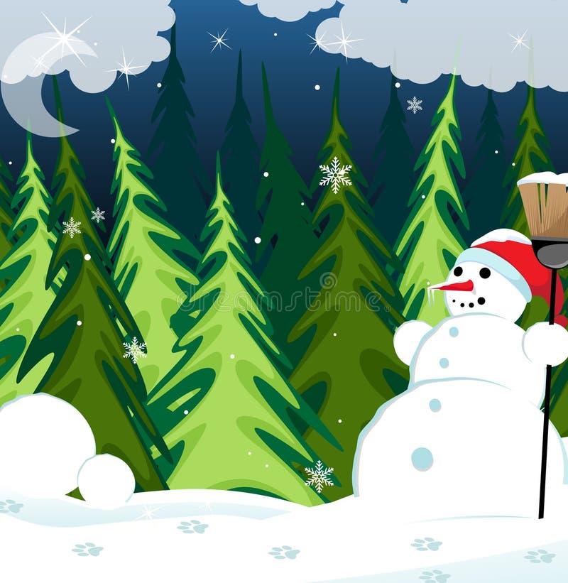 雪人在晚上森林里 库存例证