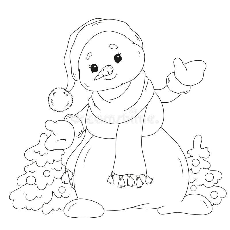 雪人彩图 儿童的创造性的逗人喜爱的卡通人物 与圣诞树的雪人 被隔绝的传染媒介 向量例证
