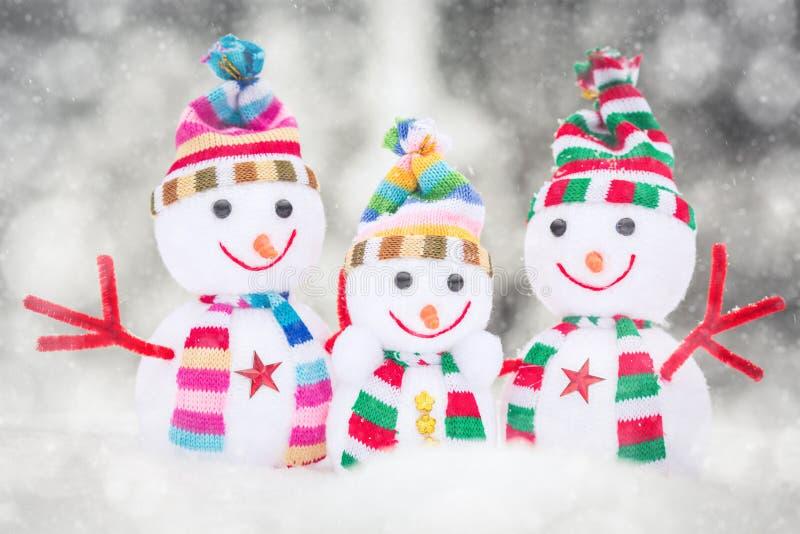 雪人玩具家庭 免版税库存图片