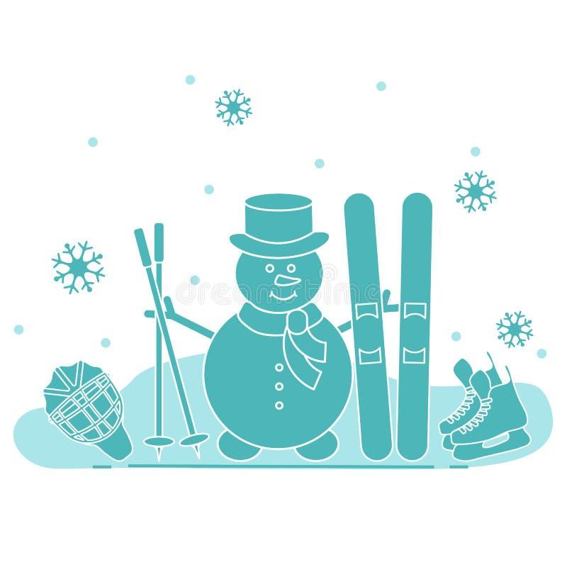雪人用滑雪和曲棍球设备 库存例证