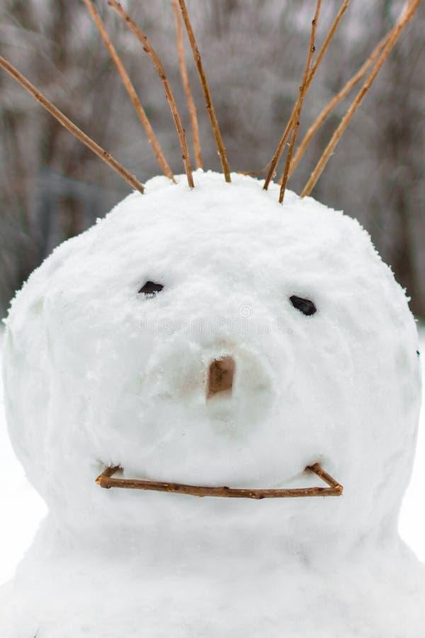 雪人的滑稽的面孔 库存图片