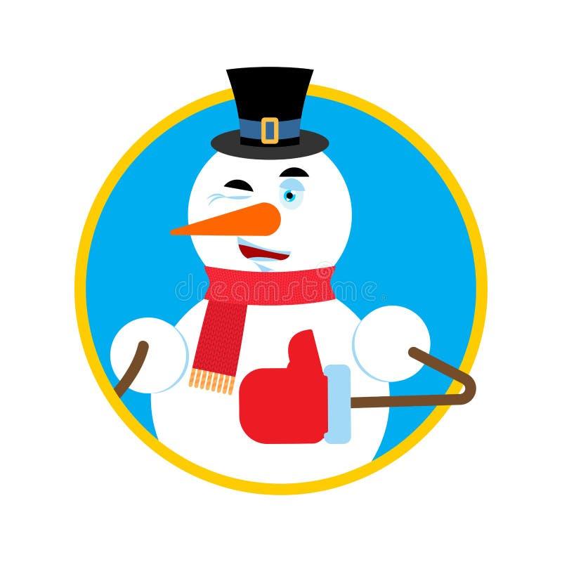 雪人赞许闪光emoji 新年和圣诞节传染媒介不适 向量例证