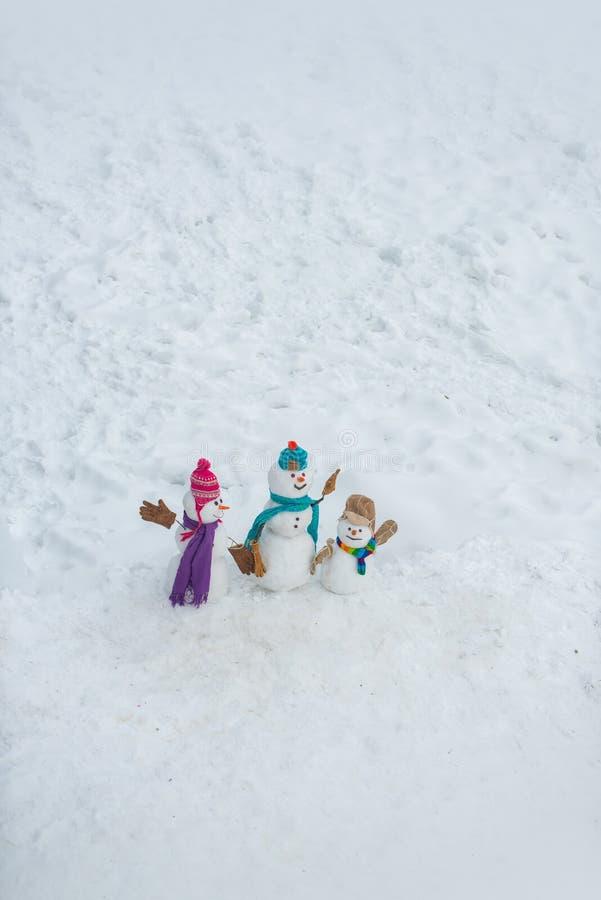 雪人-父亲、母亲和雪人-室外婴孩的惊奇 冬天销售横幅 逗人喜爱的雪人家庭 免版税库存照片