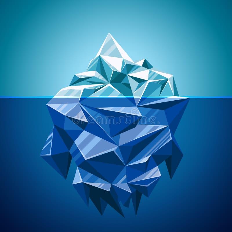 雪传染媒介在多角形样式的冰山山 库存例证