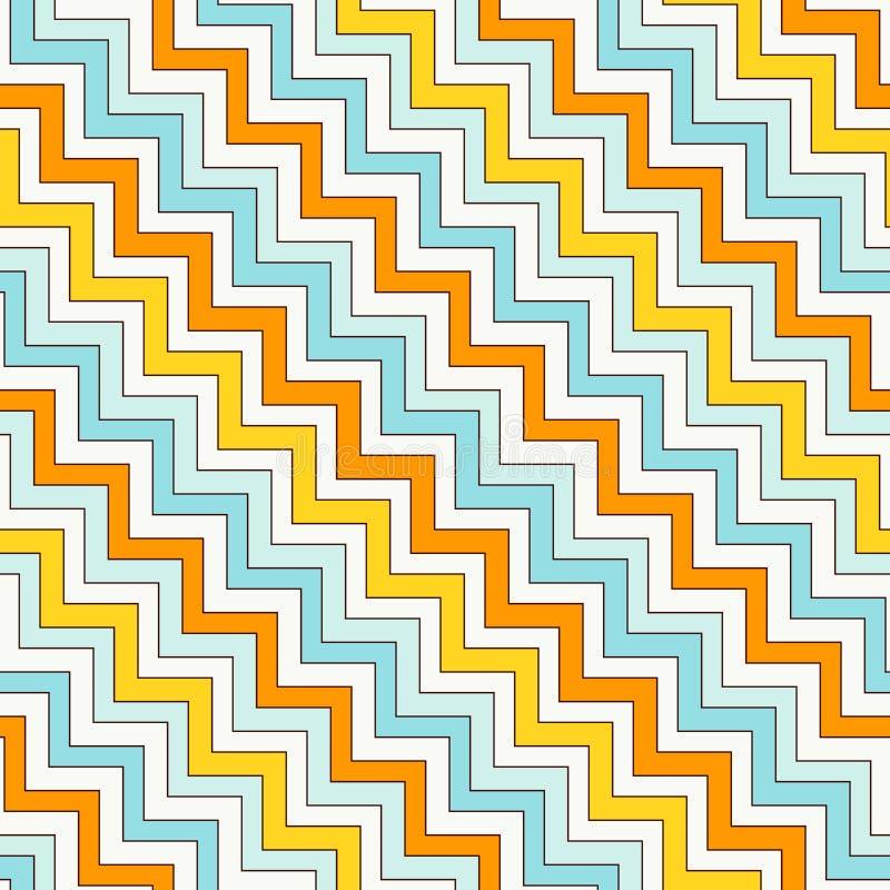 雪佛之字形对角线排行无缝的样式 与经典几何装饰品的镶边抽象背景 向量例证