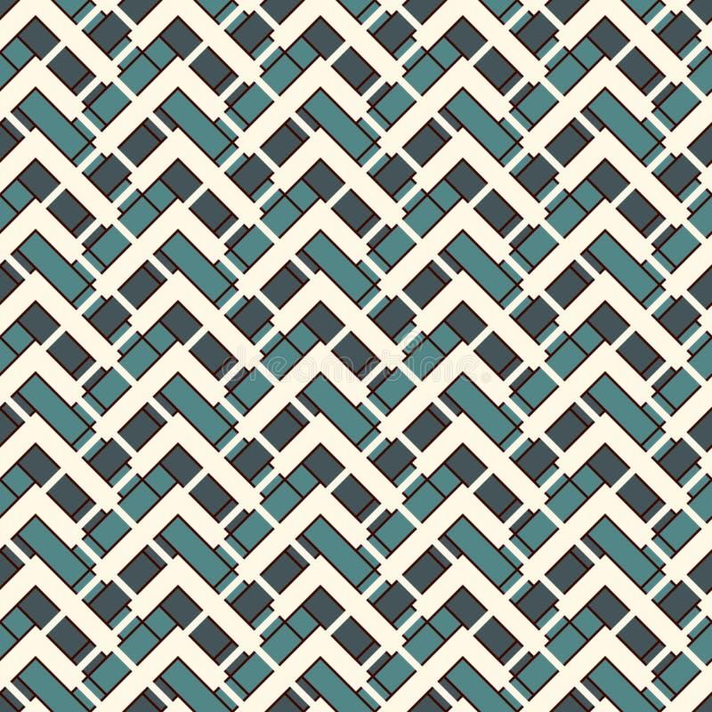 雪佛对角线镶边抽象背景 与几何装饰品的无缝的表面样式 之字形水平线 皇族释放例证