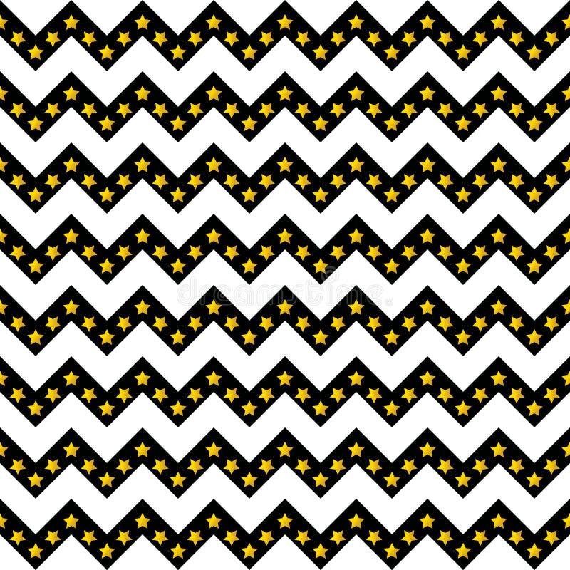 雪佛样式无缝的传染媒介箭头和条纹设计黑白与梯度金黄星 库存例证