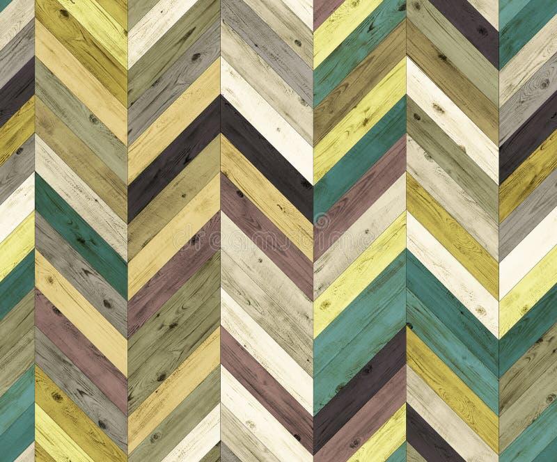 雪佛任意颜色自然木条地板无缝的地板纹理 免版税库存图片