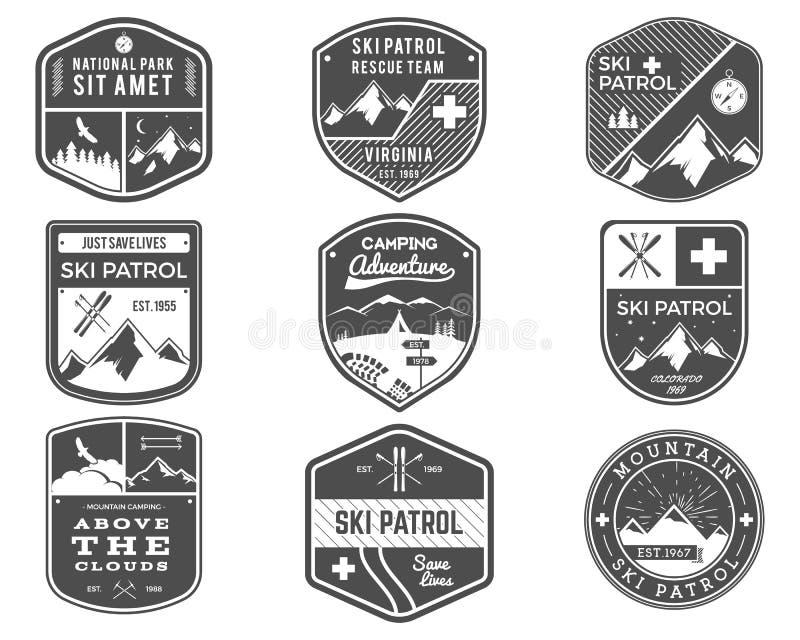 滑雪俱乐部,巡逻,露营地标记汇集 葡萄酒山,冬季体育探险家证章室外冒险商标 向量例证