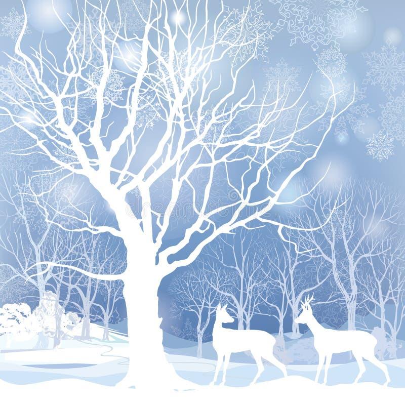 雪冬天与鹿的森林风景。冬天森林的抽象例证。 向量例证