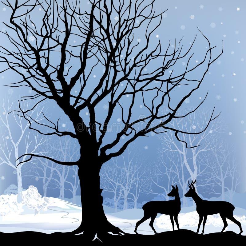 雪冬天与鹿的森林风景。冬天森林的抽象例证。 皇族释放例证