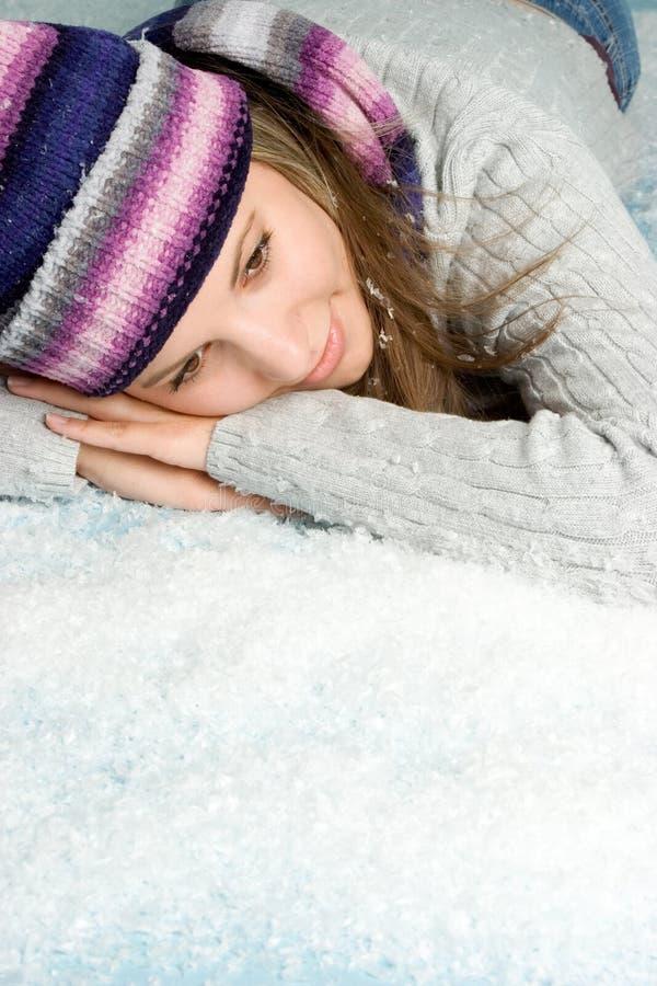 雪冬天妇女 免版税库存照片